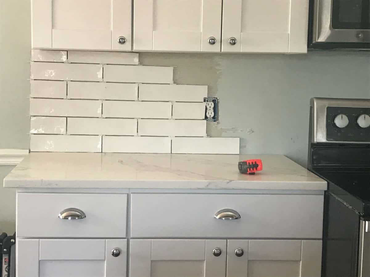 Farmhouse kitchen renovation subway tiles
