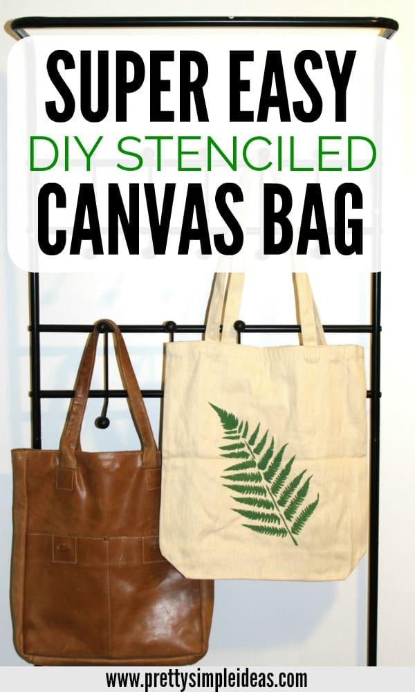 EASY DIY Stenciled Canvas Bag